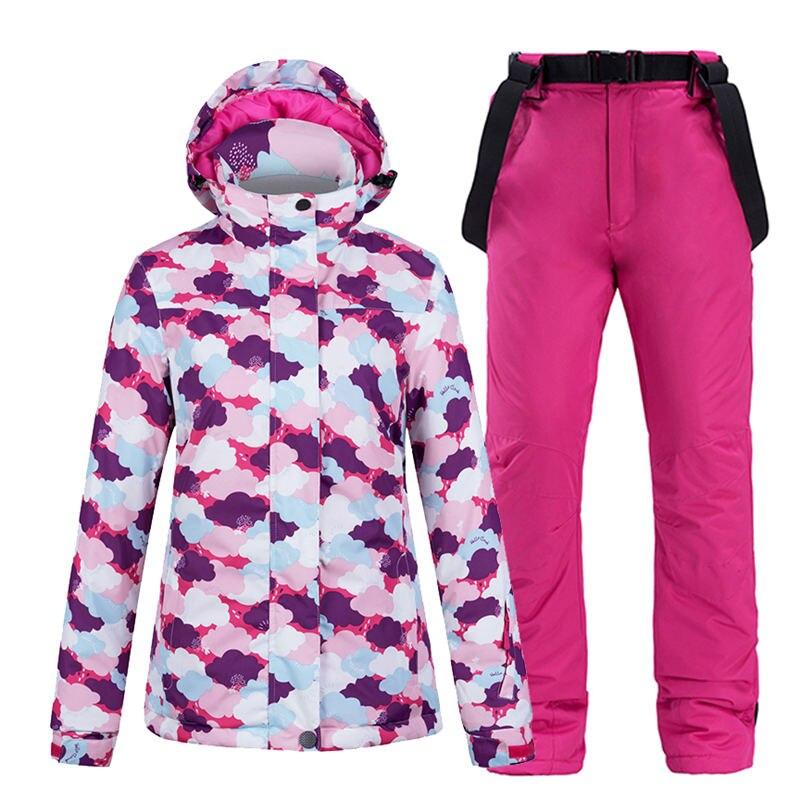 -30 Colorful Women's Snow Wear snowboarding sets waterproof windproof Winter outdoor sports Ski jacket + bibs Snow pant female