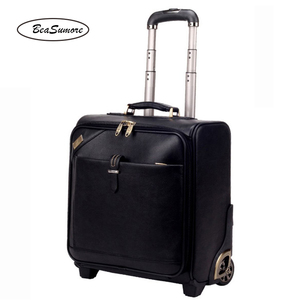 Image 2 - BeaSumore Men Business Genuine Leather Rolling Luggage 20/24 inch Retro Cowhide Wheel Suitcases 16 inch Cabin password Trolley