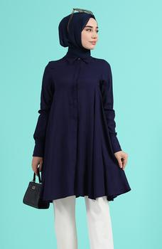 Minahill granatowy tunika moda muzułmańska islamska odzież skromne topy arabska odzież długa tunika dla kobiet 8160-05 tanie i dobre opinie TR (pochodzenie) tops Aplikacje Bluzki i koszule Octan Dla dorosłych