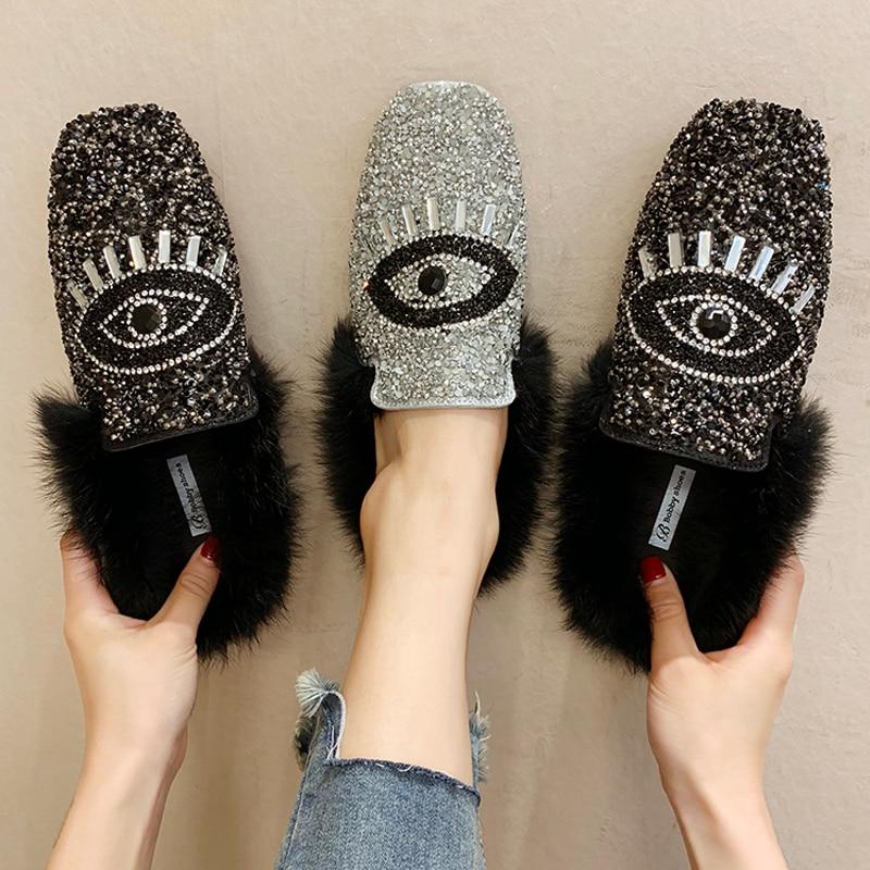 Designer Women Shiny Sequins Muller Shoes Brand Winter Faux Fur Female Eyes Applique Flats Girls Casual Outdoor Warm Flip Flop 24