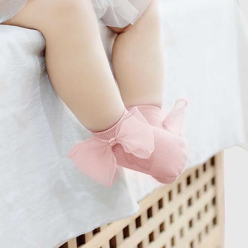 2020 Baby Girls Big Bowknot Princess Socks Infant Newborn Anti-slip Floor Sock Kids Girl 0-3Years Spring Pure Color