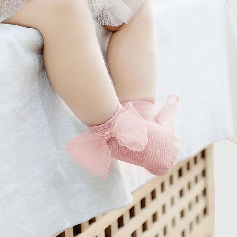 2020 Baby Girls Big Bowknot Princess Socks Infant Newborn Anti-slip Floor Sock Kids Girl 0-3Years Spring Pure Color