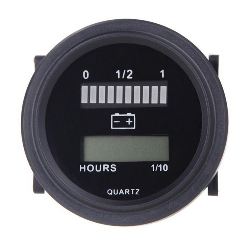 12V/24V/36V/48V/72V LED Digital Battery Status Charge Indicator with Hour Meter Gauge Black Garden Water Timers     - title=