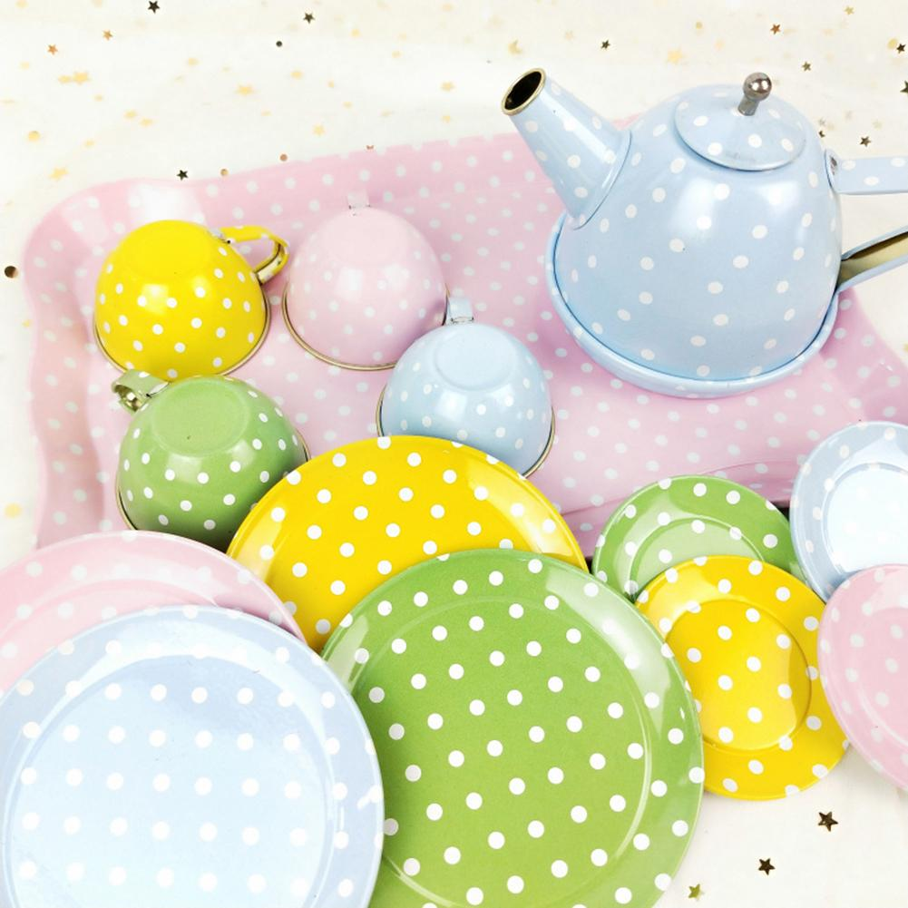 14Pcs Iron Saucer Cup Salver Tea Set Tableware Pretend Play Developmental Toy For Children Birthday/Christmas Gift