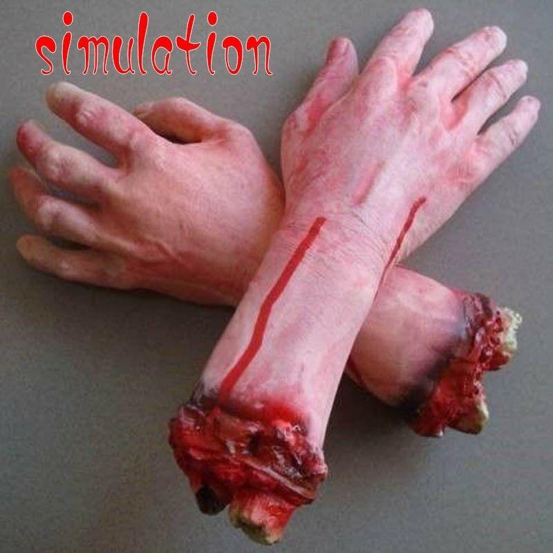 La vida como 1PC cortada miedo cortar sangriento Horror látex falso vida tamaño brazo mano de miedo Halloween Prop fiesta embrujada Decoración