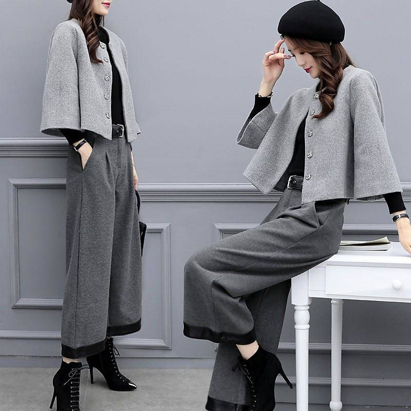 Women Pant Suit Crop Top Solid Coat & High Waist Wide Leg Pant 2019 Spring Autumn Office Wear Women Suits 2 Piece Set