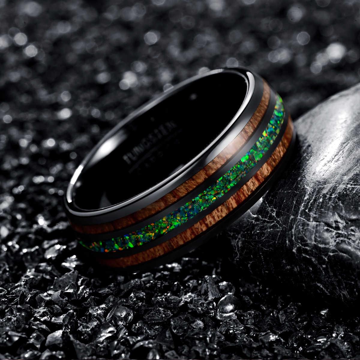 Boemia 8mm Luxo Preto Tungstênio Anel De Madeira Verde Opal Inlay Anel Declaração de Festa de Casamento Das Mulheres Dos Homens