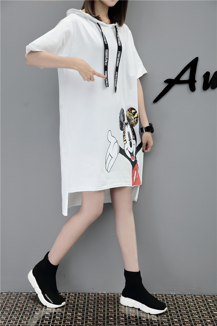 H33c8e3c0fe3d48ee83e57f663c47aef1R - New Runway short sleeve Hooded Sweatshirt dress casual mickey cartoon printed women femme oversize dresses vestidos