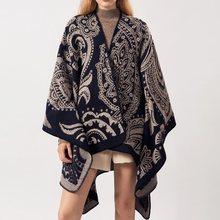 Bohoartist Fall Winter Womens Ethnic Scarves Geometric Pattern Female Boho Warm Wool Capes
