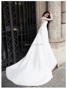 Image 2 - Romantic Satin & Lace Applique Long Sleeves Wedding Dresses Sheer Scoop Ivory Buttons Back Bride Wedding Gowns 2020 Vestidos