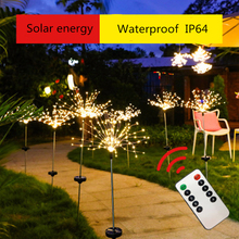 LED Fireworks Light String Christmas Lights Outdoor Solar Ground Insertion Fireworks Lamp Waterproof Courtyard Holiday Decor 2m outdoor waterproof ip65 decoration light 100ma dc 1 2v led solar string light outdoor string led holiday decor lamp