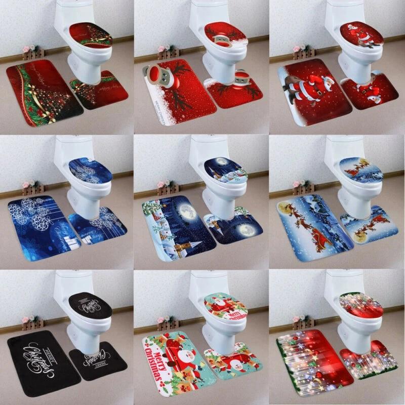 3pcs Christmas Xmas Decoration Santa Toilet Seat Cover Rug Bathroom Mat Set