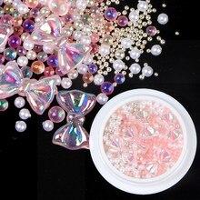 3d prego arcos strass pedras cristais ab misturado colorido borboleta arco gemas design unhas encantos studs para decorações da arte do prego