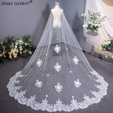 New Arrival Real Photo 3m Length 3m Width One Tier Lace And Flowers Cathedral Wedding Bridal Veil(China)