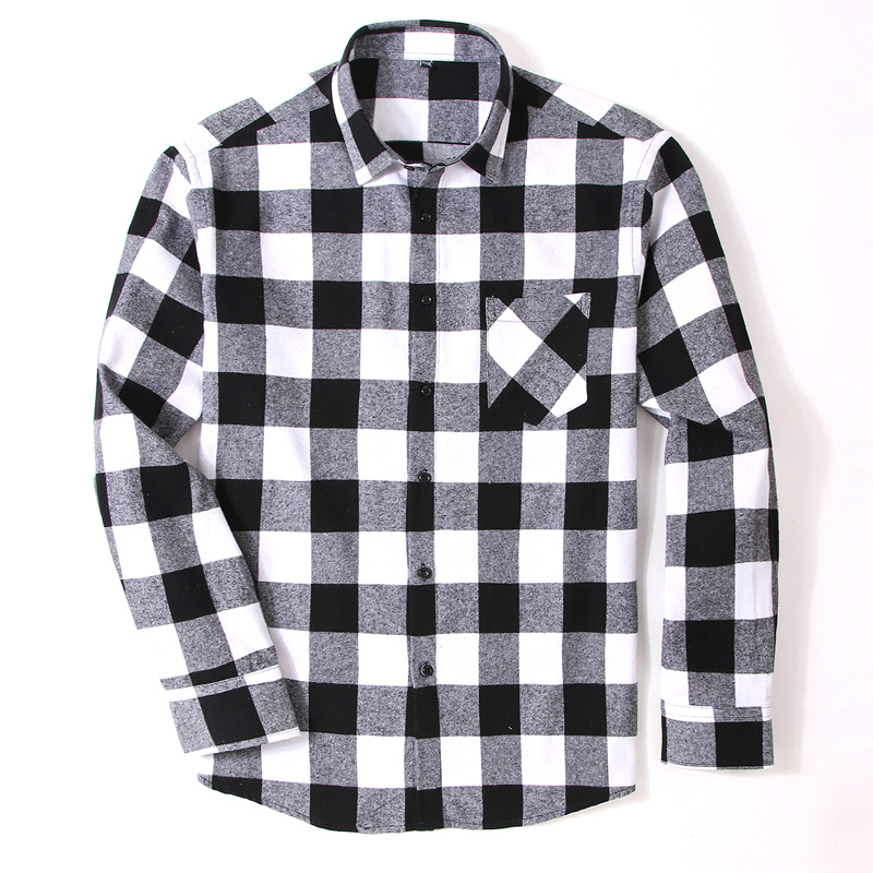 100% Cotton Flannel Men's Plaid Shirt Slim Fit Male Casual Long Sleeved Shirts