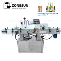 ZONESUN Vial Glass Jar Tabletop Can Sticker Wine Water Bottle Sleeve Automatic Round Bottle Labeling Machine For Round Bottles