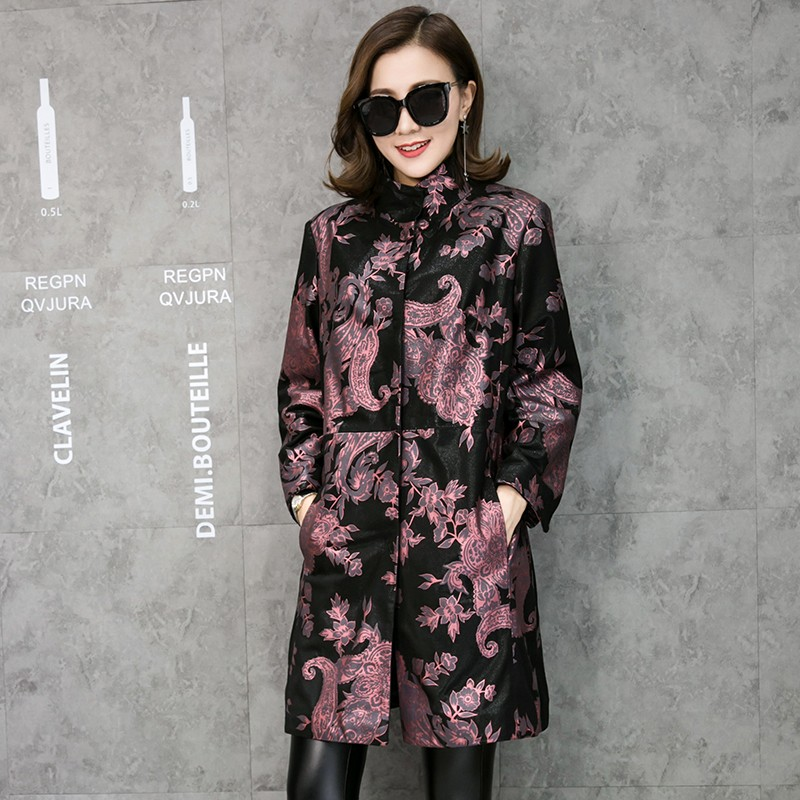 Free Shipping Multicolor Floral Print Genuine Leather Trench Coat Real Lambskin Leather Coats Fashion Long Outerwear Plus Size