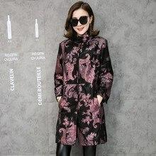 Gratis Verzending Multicolor Bloemenprint Echt Lederen Trenchcoat Echte Lamsleren Jassen Fashion Lange Bovenkleding Plus Size