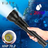 80000LM XHP70.2 Professionelle Ultra Leistungsstarke Tauchen Taschenlampe L2 IP8 Unterwasser 200M Wasserdicht Scuba Dive Taschenlampe Licht Lampe
