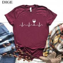 New arrived Wine Heartbeat Women tshirt Cotton Casual Funny t shirt Lady Yong Gi
