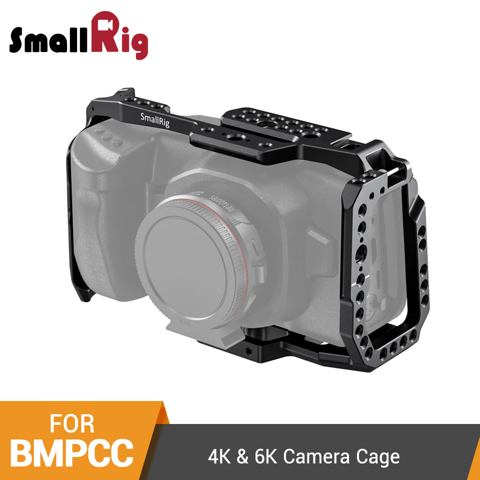 SmallRig BMPCC 4K 6K Camera Cage for Blackmagic Design Pocket Cinema Camera Form Fitting Cage+ Nato Rail Could Shoe Mount- 2203(China)