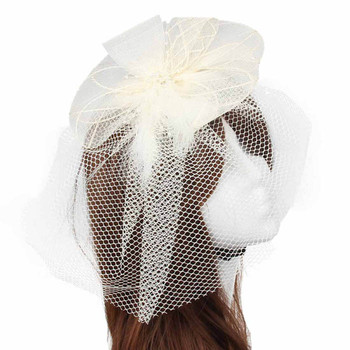 top selling product in 2020 Wedding Fascinator Veil Feather Hard Yarn HeadbHats Women Brides Hair Ac