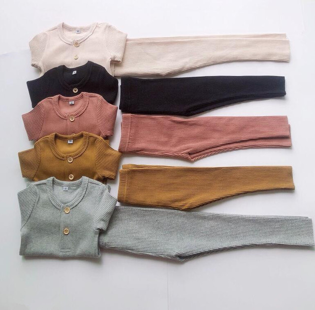 autumn boys and girls knitted  two-piece set single row buckle  kids clothes girls  boys clothes