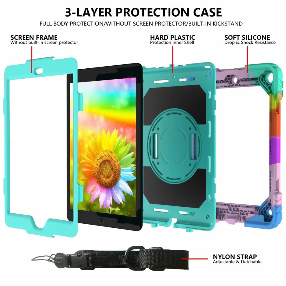 Pencil Rotating Generation Holder 360 Strap Case For iPad Hand Stand For 7th Cover iPad