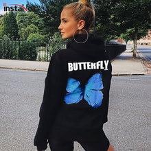 InstaHot-Sudadera con capucha de algodón de gran tamaño para mujer, ropa informal con estampado de mariposas, letras en blanco y negro, tops de calle 2020