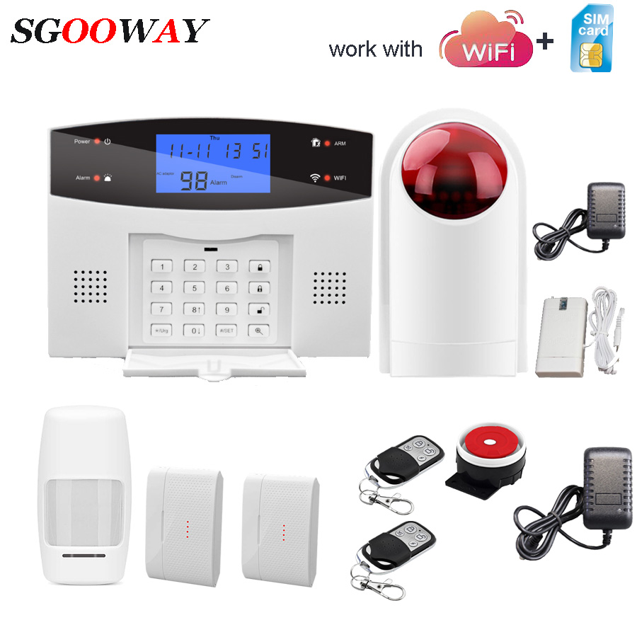 Sgooway Wifi GSM PSTN Alarm System Wireless & Wired Detectors Alarm Smart Home Relay Output APP English/Russian/Spanish/French