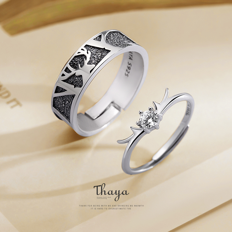 Thaya Silver 925 Jewelry 3D Texture Rings Black Little Deer Crown Couple Sterling Silver Rings For Women Engagement Gift(China)
