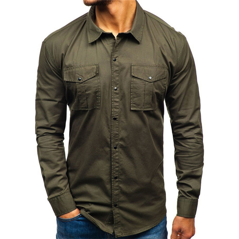 2020 New Men Military Shirt Autumn Casual Man Shirt Cotton Military Cargo Slim Button Solid Long Sleeve Shirt Men Pocket Shirts