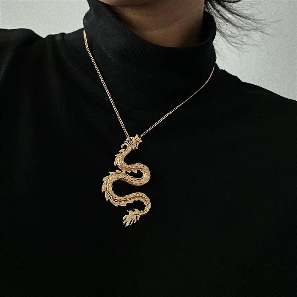 Kişilik ejderha kolye kolye kadınlar için 2020 Trendy Punk klavikula uzun zincir kolye bildirimi takı hediye
