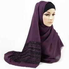 Lenço de algodão hijab sólido franjas xales liso shimmer maxi glitter muçulmano longo cabeça envoltório turbantes cachecóis/cachecol