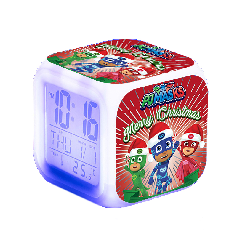Pj Masks LED Cartoon Colorful Night Light Alarm Clock Catboy Owlette Gekko Pj Mask Juguete Clock Toys For Children Birthday Gift