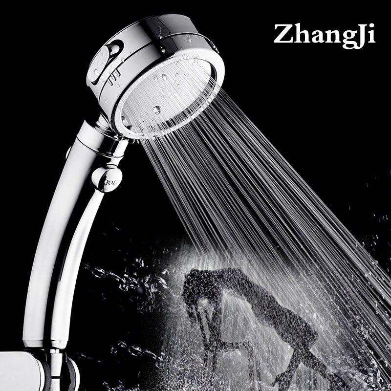 Zhangji placage 3 modes avec pomme de douche bouton de commutation en plastique réglable salle de bain manipulé nouvellement haute pression pomme de douche