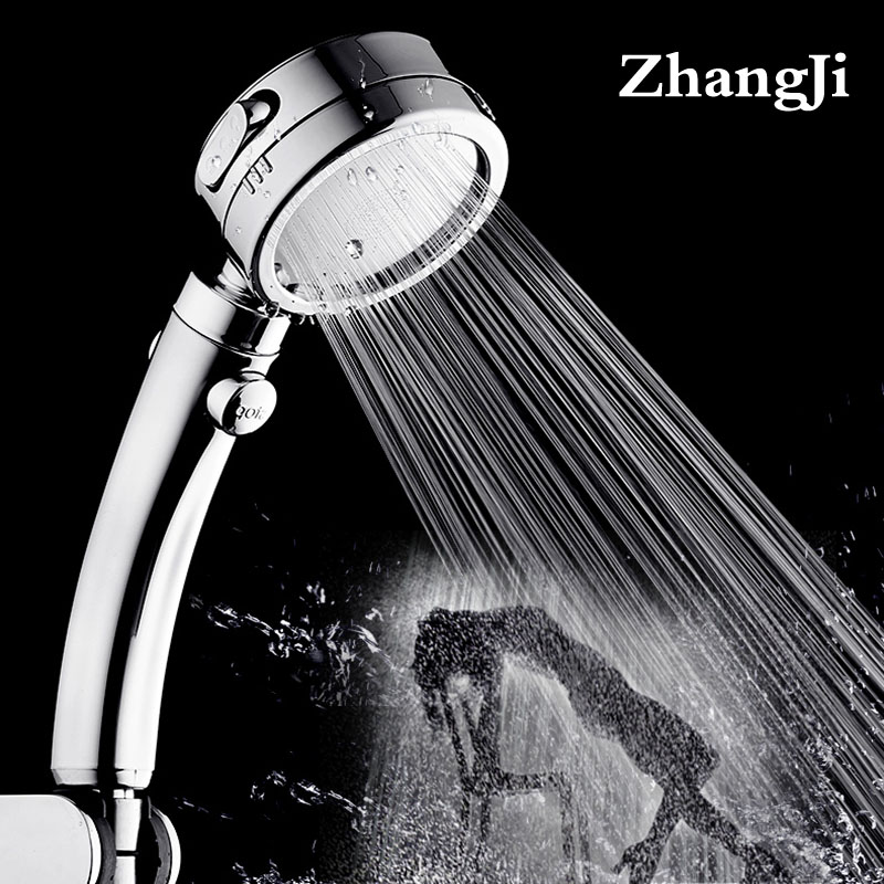Zhangji Plating 3 Modes With Switch Button Shower Head Plastic Adjustable Bathroom Handled Newly High Pressure Shower Head