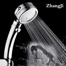 Zhangji plating 3 modes with Switch button shower head Plastic Adjustable bathroom handled newly high pressure