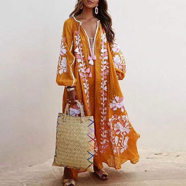 Loose Fit Long Sleeve Flower Dress Tassel V Neck Beach Sundress Fashion Lace-up Tassel Casual Long Dress Women Autumn Dresses 6