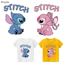 Prajna Lilo Stitch Cartoon Iron on Heat Transfer Printing Patches Stickers Clothes DIY Appliques Washable A-level Thermal Patch