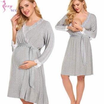 SEXYWG frauen Robe Mutterschaft Nachtwäsche Schwangerschaft Nachthemd Pflege Weichen Kimono Bademäntel Mutterschaft Kleid Nachthemd Nachtwäsche