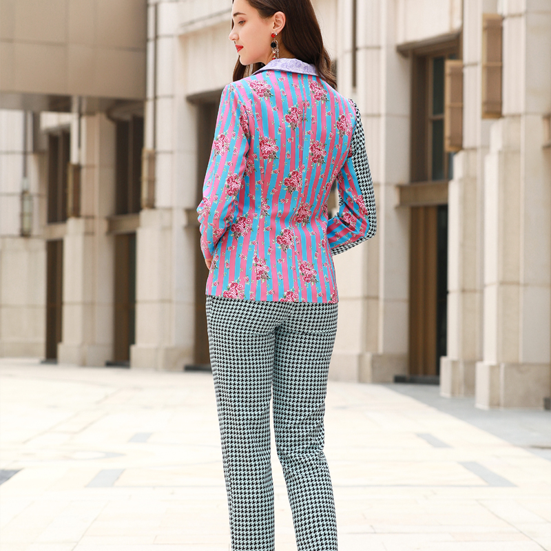 women fashion show 2019Autumn and winter  blazer feminino pantalones de Printed stripes  Commuting Woman office work clothes