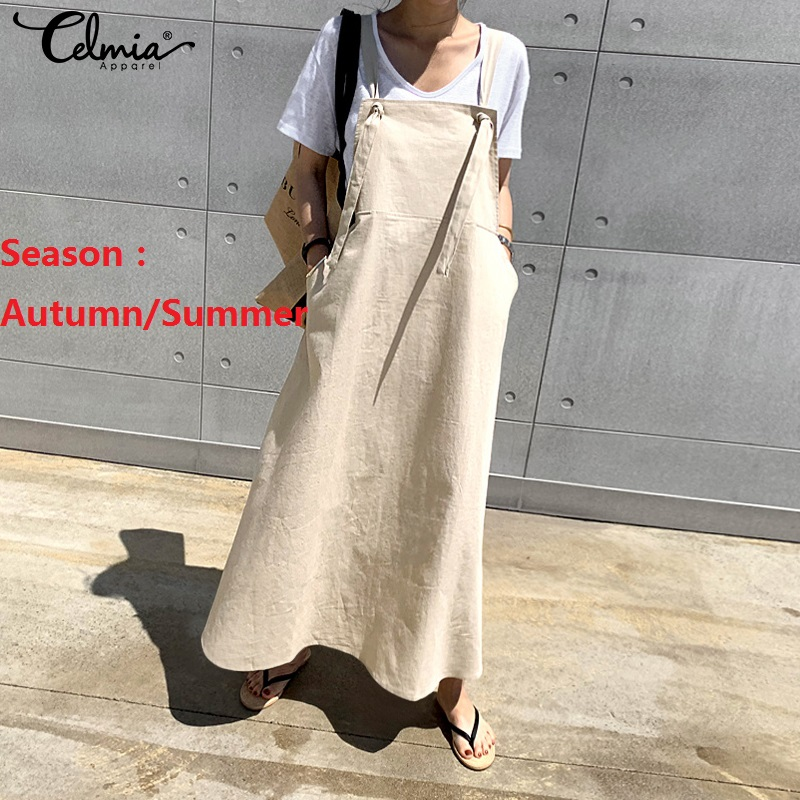 S-5XL Women Fashion Sleeveless Maxi Dress Celmia 2020 Vintage Linen Strappy Casual Loose Long Vestidos Female Solid Work Robe 7(China)