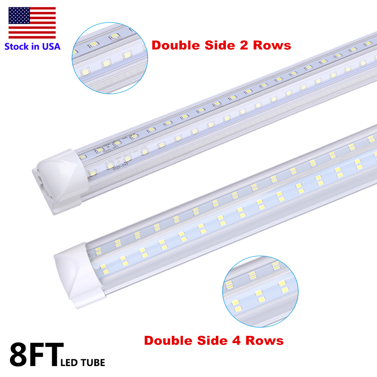 8ft Double Side 4 Rows 120W LED Tube Light Shop Light V-shaped Integrate T8 LED Tube Integrated Cooler Door Stock In US