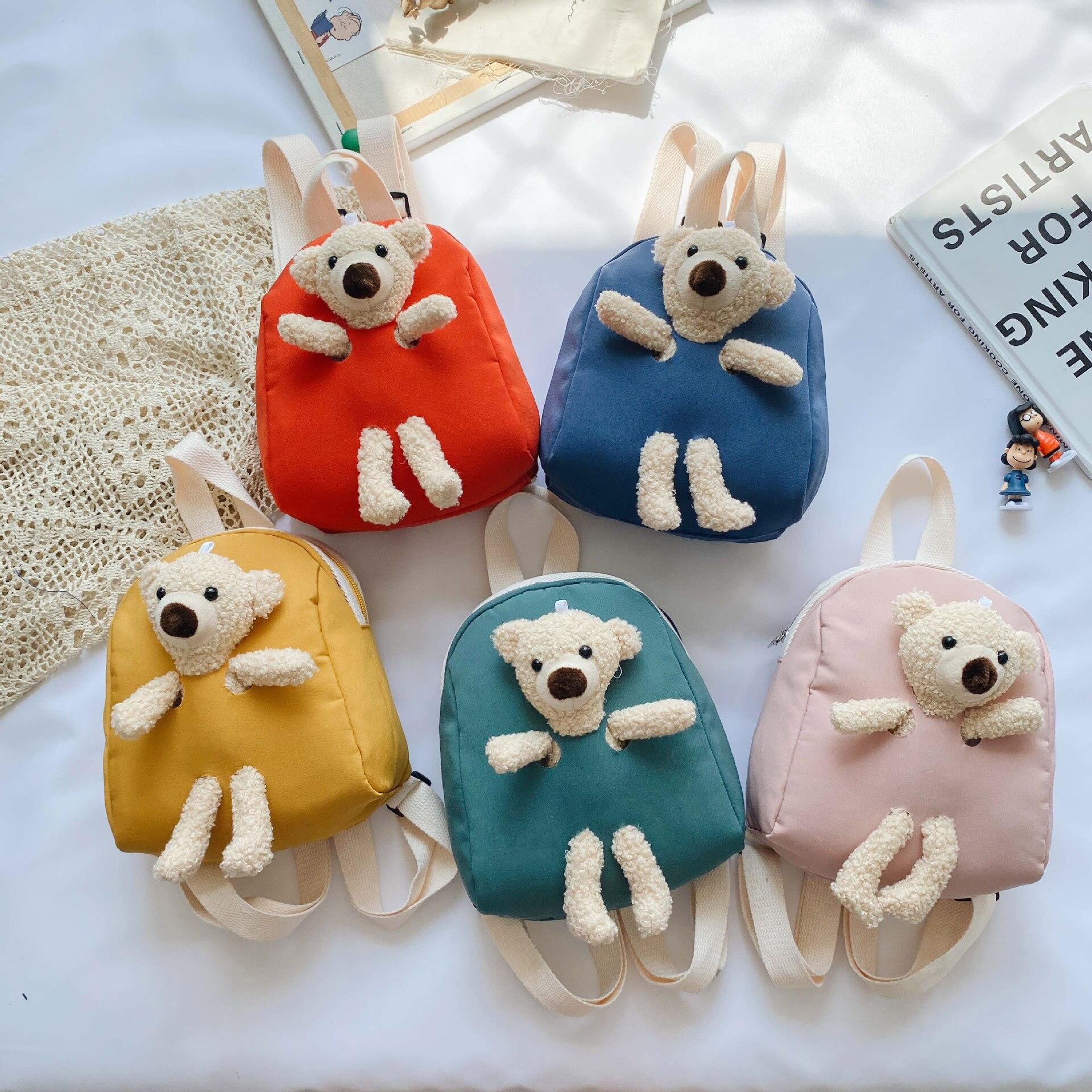 Korean Version of Children's Plush Bear Bag New Backpack Cute Cartoon Small Backpack Tide Boys and Girls Toddler School Bag