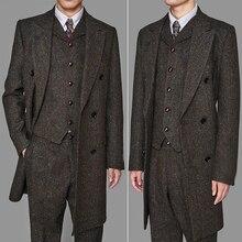 Длинные Стильные мужские кофейные цветные винтажные Длинные костюмы с узором в елочку, 3 предмета, остроносые блиндеры(куртка+ жилет+ штаны