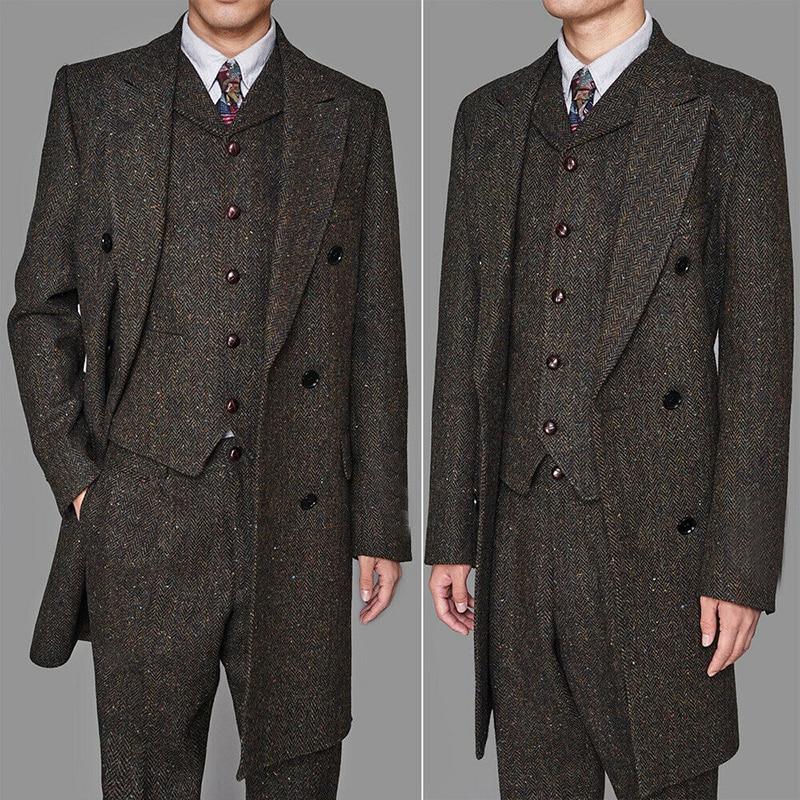 Long Style Men's Coffee Colorful Herringbone Vintage Long Vested Suits 3pcs Peaky Blinder(Jacket+vest+pants)