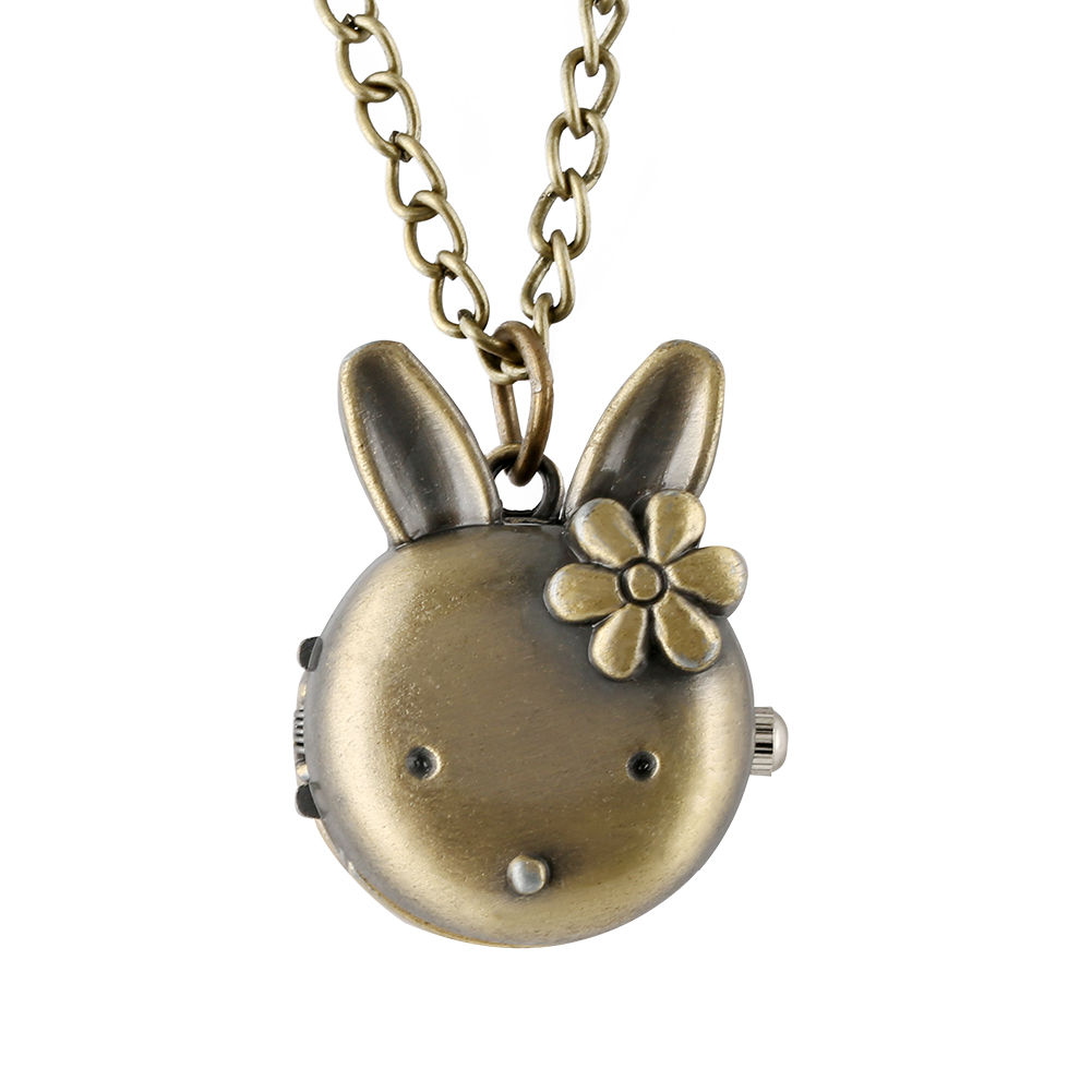 Lovely Rabbit Shape Pocket Watch Bronze Alloy Case Pocket Watches Classic Full Hunter Pendant Watch For Lady Boys