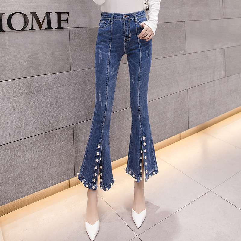 Europe And America Jeans 2019 Spring Korean-style Pearl Slit Cowboy Bell-bottom Pants Black And White With Pattern Capri Pants W