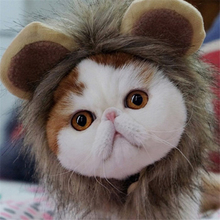 Cute Pet Lion Hair Mane Ears Head Wig Cap Funny Dog Cat Halloween Party Cosplay Warm Hat Scarf Fancy Winter Costume Supplies